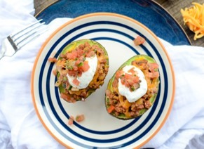 Turkey taco stuffed avocado